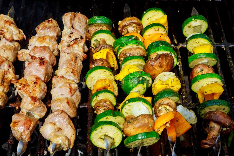 Kebabs grilled meat and vegetables royalty free stock photography