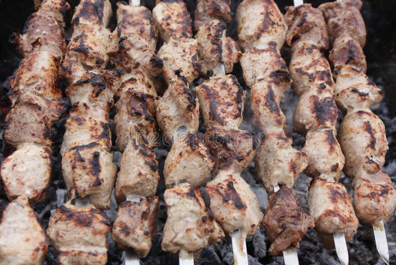 Kebabs over charcoal-3 royalty free stock images