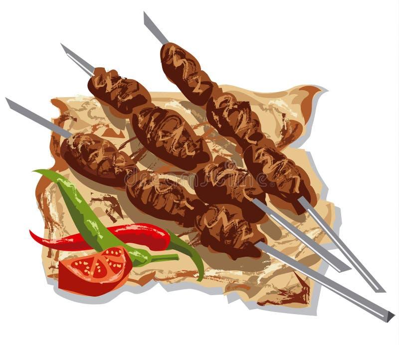 Kebabs sabrosos ilustración del vector