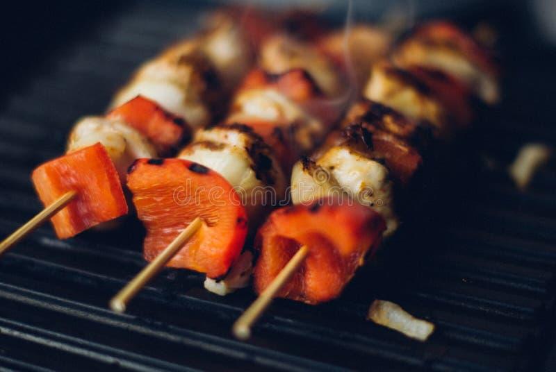 Kebabs on skewers royalty free stock image