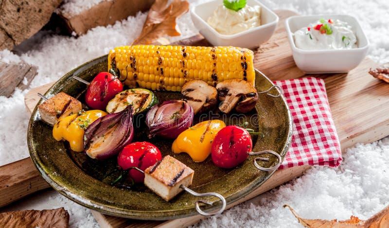 Kebabs vegetarianos sanos imagen de archivo libre de regalías