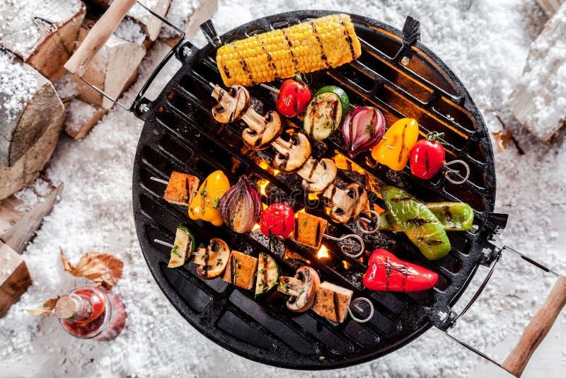 Kebabs Veggie жаря на BBQ зимы стоковое фото
