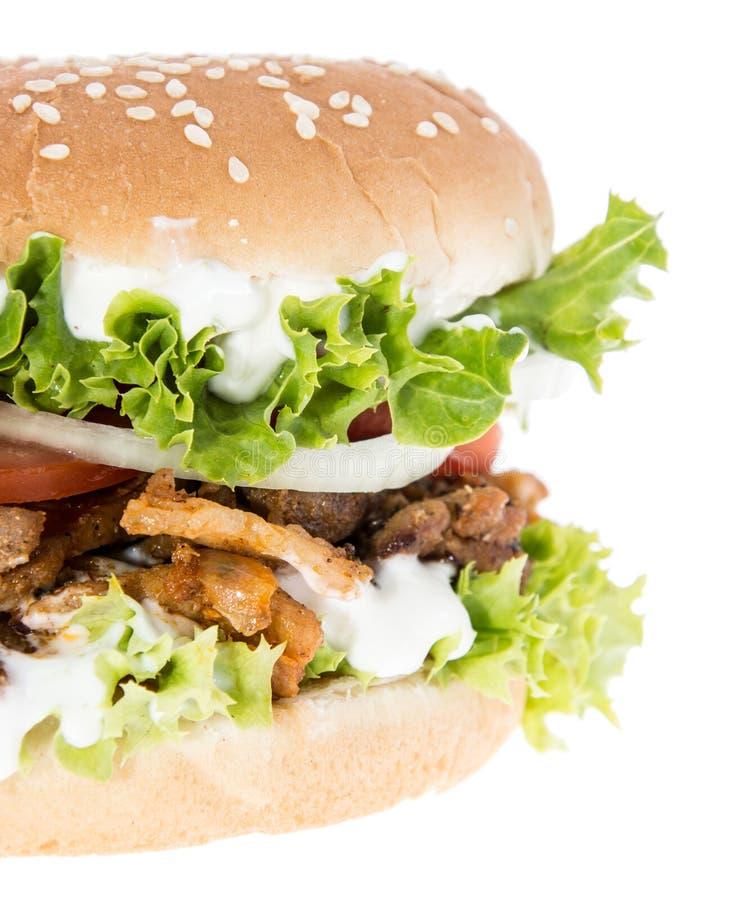Kebabu hamburger odizolowywający na bielu obrazy stock