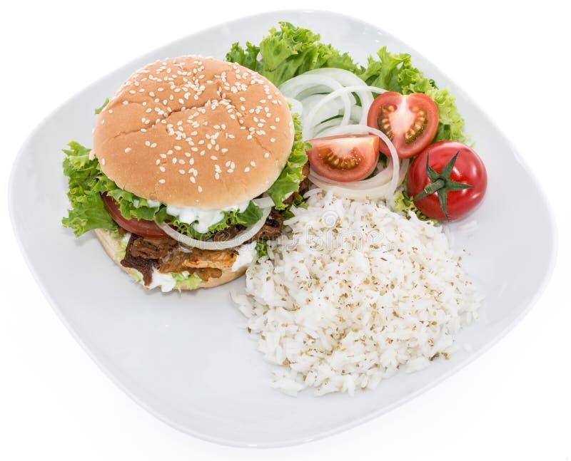 Kebabu hamburger z Rice na bielu obraz stock