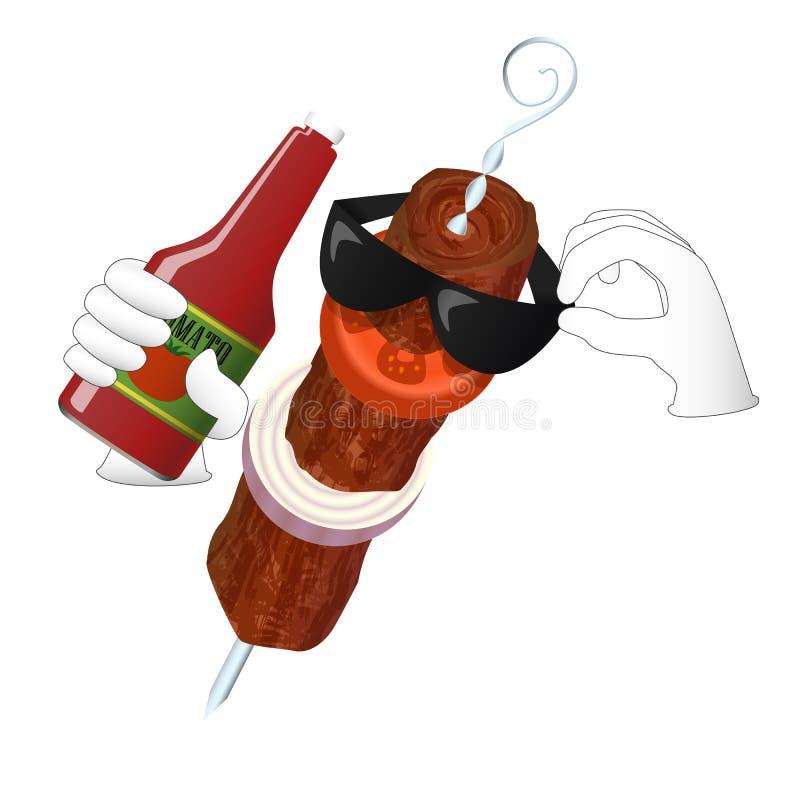 Kebabu mężczyzna kocha pomidorowego ketchup ilustracja wektor