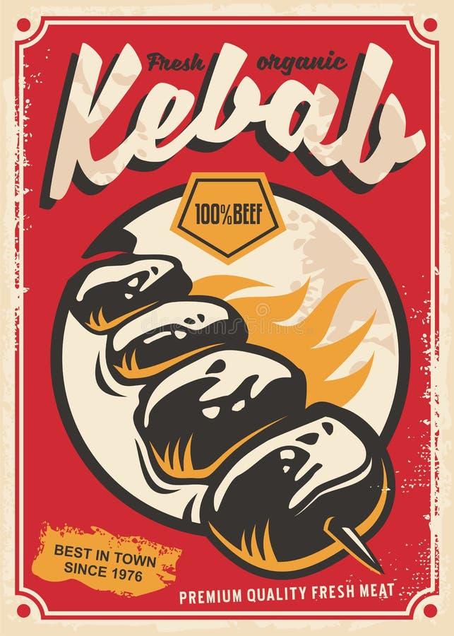 Kebabu retro plakatowy projekt ilustracji