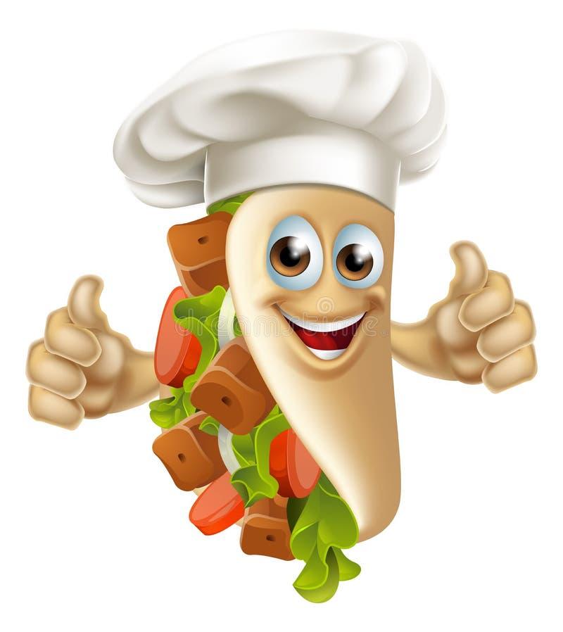 Kebabu szefa kuchni mężczyzna royalty ilustracja