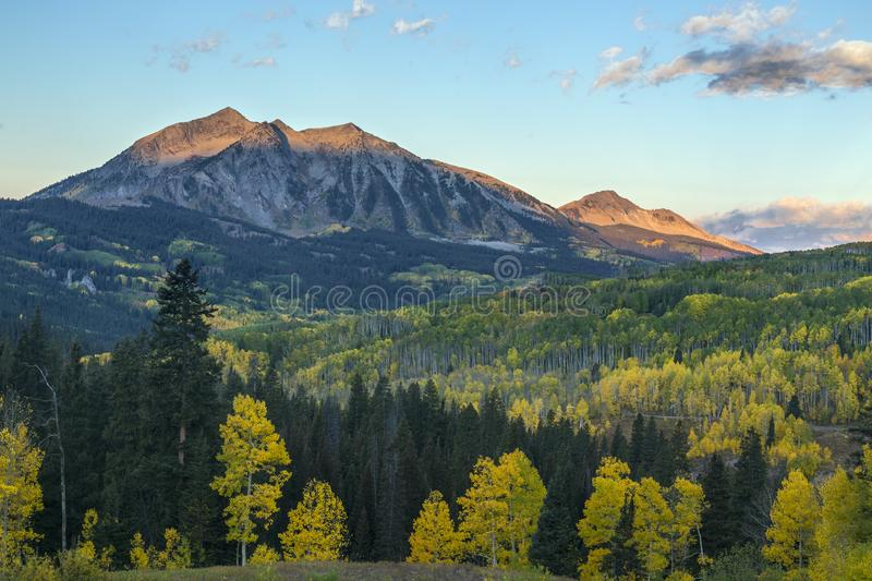 Autumn Colors on Kebler Pass Near Crested Butte, Colorado Rocky Mountains. Before the sun hits the valley stock photography