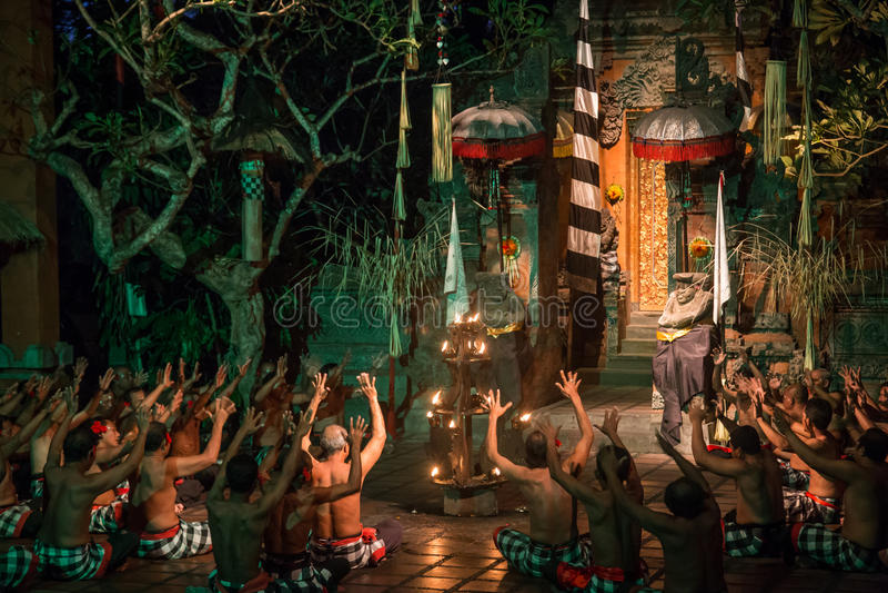 Kecak Dance Bali. Batu Bulan, Bali, Indonesia - July 19, 2015: Performance of a traditional Kecak dance royalty free stock photo