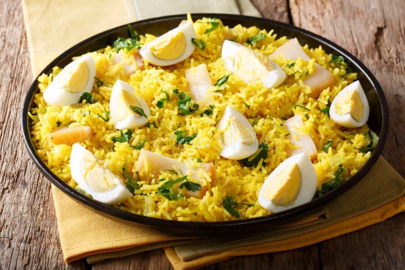Kedgeree tasty food with rice, fish, boiled eggs, cilantro close stock photo