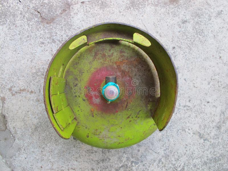 Kediri, Indonesia - December 01, 2018: Pertamina LPG Gas Tank, Top View.  royalty free stock photo