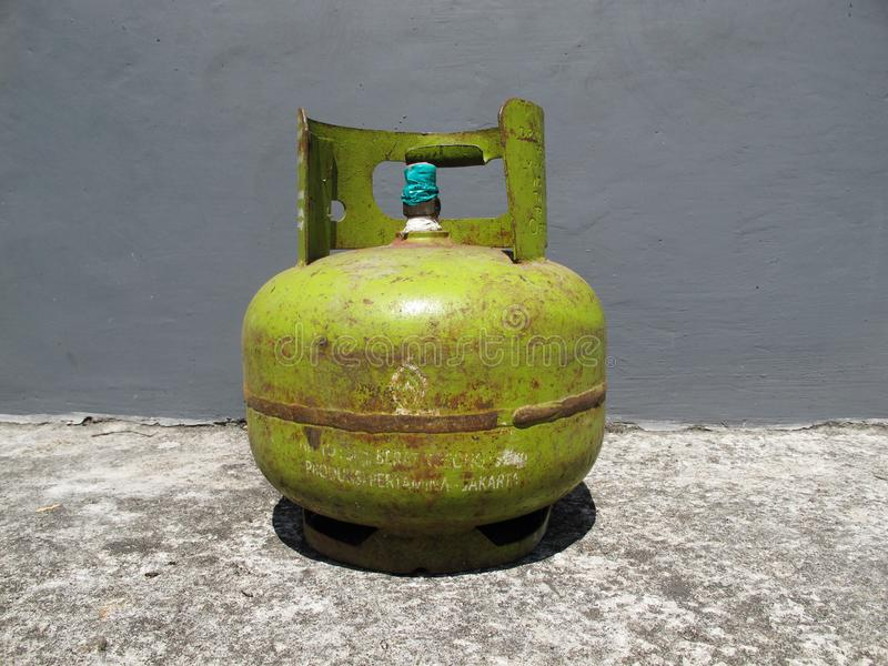 Kediri, Indonesia - December 01, 2018: Pertamina Old Gas Bottle.  royalty free stock image