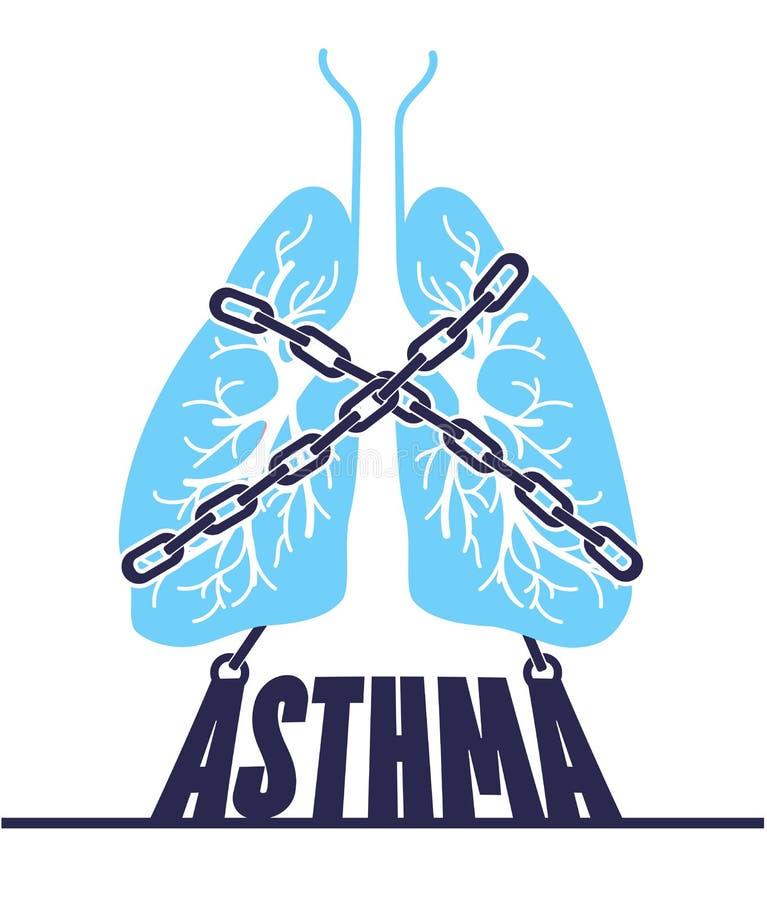 Kedja-destinerad bronkial astma för baner vektor illustrationer