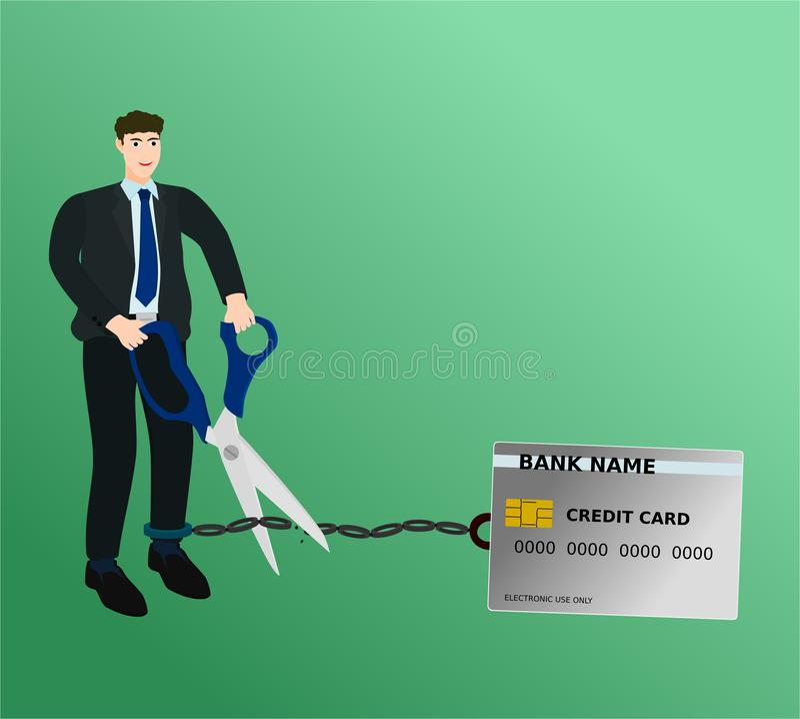 Kedja för kreditkort för affärsmanklippbörda med sax royaltyfri illustrationer