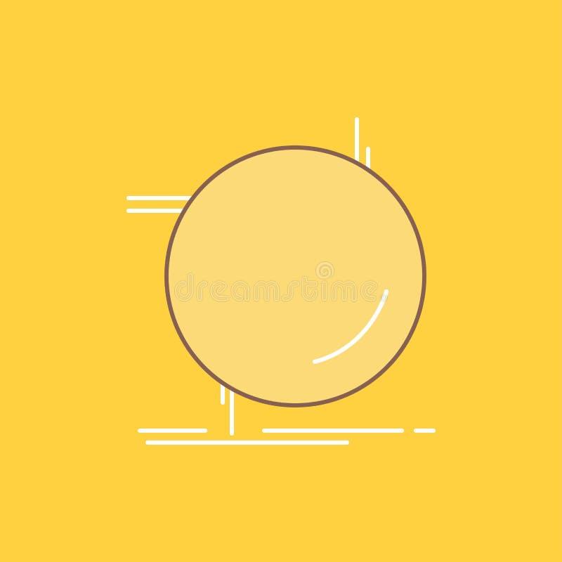 kedja fast, förbind, anslutning, sammanlänkningen, den plana linjen fylld symbol för tråd H?rlig logoknapp ?ver gul bakgrund f?r  royaltyfri illustrationer