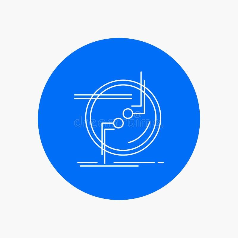kedja fast, förbind, anslutning, sammanlänkningen, den vita linjen symbol för tråd i cirkelbakgrund Vektorsymbolsillustration stock illustrationer