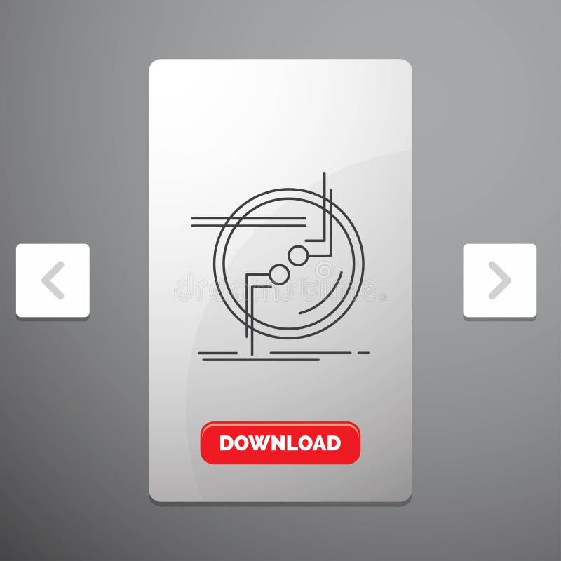 kedja fast, förbind, anslutning, sammanlänkningen, trådlinjen symbol i design för Carousalpagineringsglidare & den röda nedladdni vektor illustrationer
