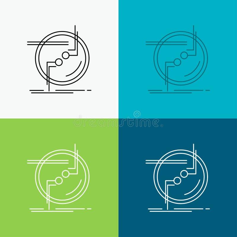 kedja fast, förbind, anslutning, sammanlänkningen, trådsymbol över olik bakgrund Linje stildesign som planl?ggs f?r reng?ringsduk vektor illustrationer
