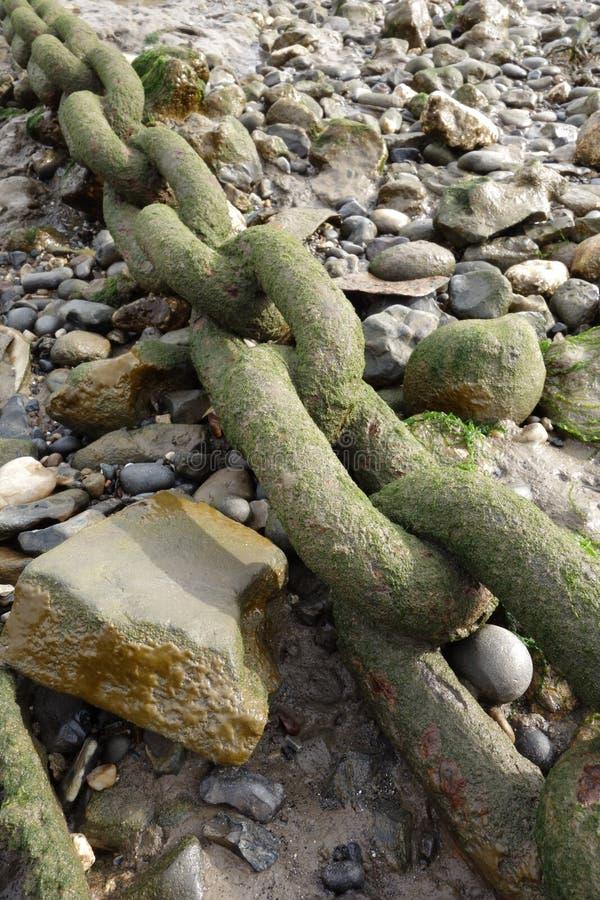 Kedja på stranden arkivbild
