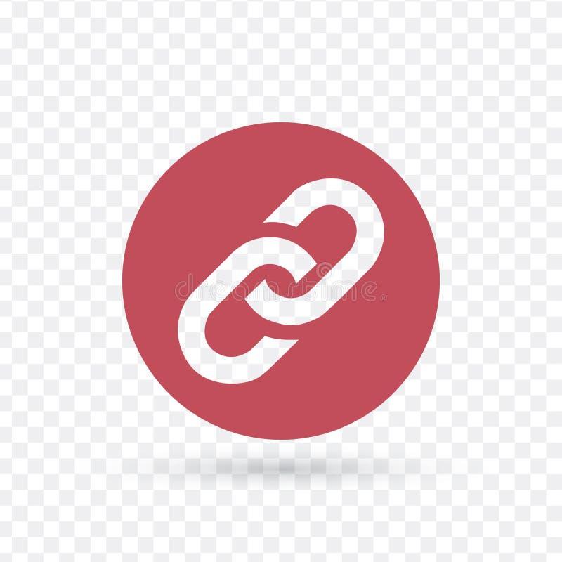 Kedja plan röd symbol för sammanlänkning i cirkelvektorillustrationen som isoleras på genomskinlig bakgrund royaltyfri illustrationer