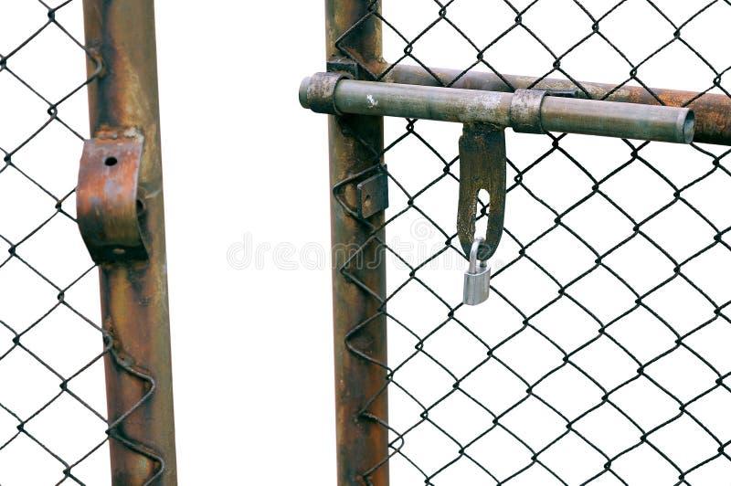 Kedja-sammanlänkning staket Gate arkivbilder