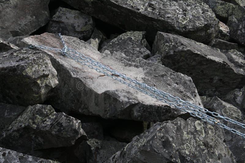 Kedja som fästas för att vagga Lapland Finland arkivfoton