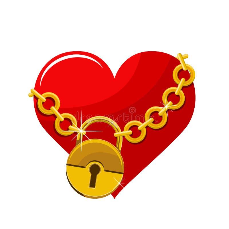 Kedjad fast illustration för hjärtavektordesign royaltyfri illustrationer
