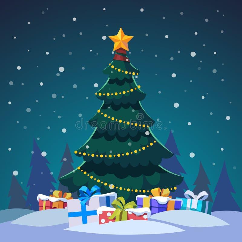 Kedjan för stjärnan och för den ljusa kulan dekorerade julträdet royaltyfri illustrationer