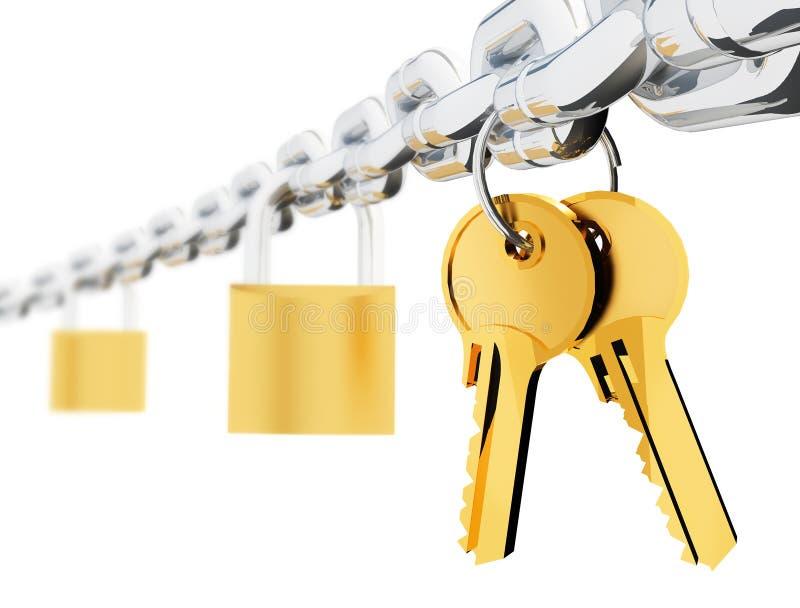 kedjan keys lås stock illustrationer