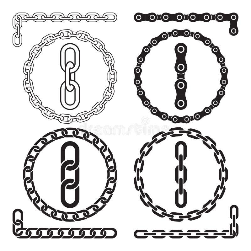 Kedjor också vektor för coreldrawillustration Chain symboler, delar, cirklar av kedjor stock illustrationer