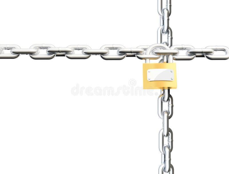 kedjor som korsar låset stock illustrationer