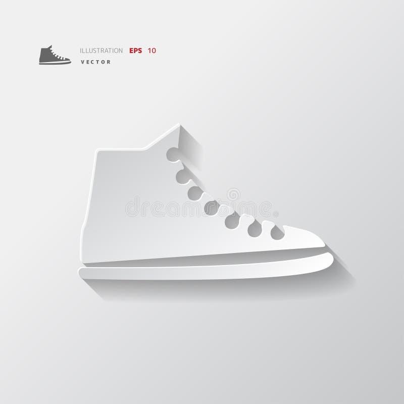 Keds casuales, icono de los zapatos de gimnasio botón del uso stock de ilustración