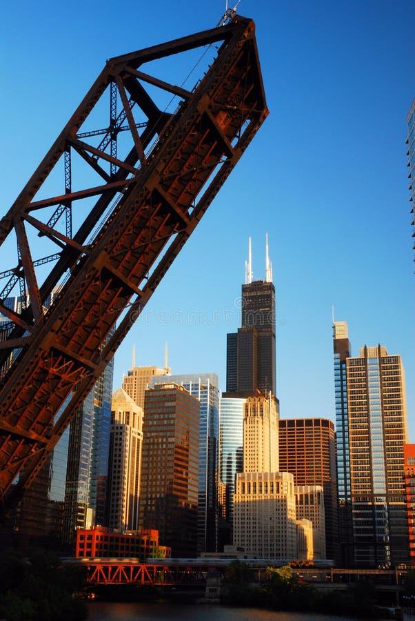 The Kedzie Bridge, frames the Chicago skyline stock photo