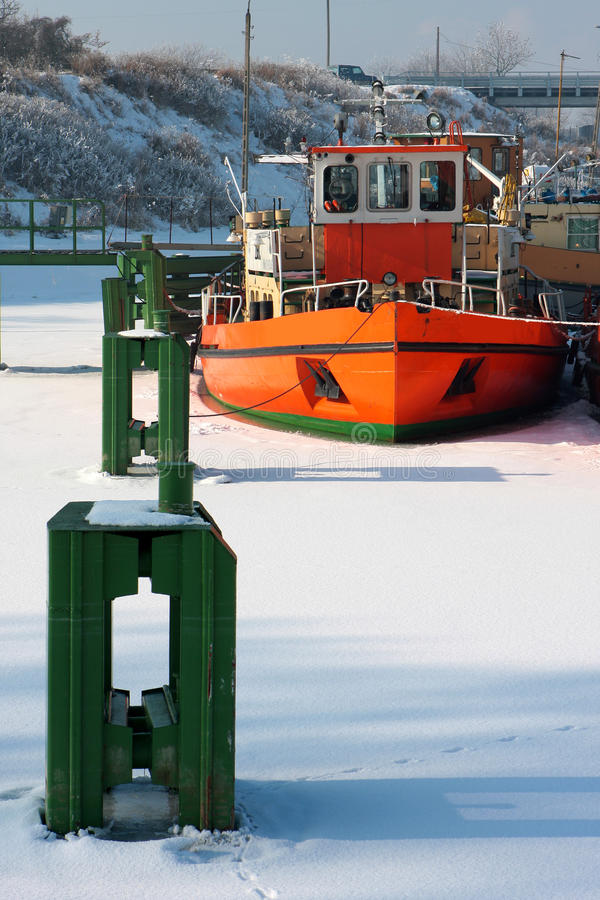 Keelboats On The Frozen River Royalty Free Stock Images