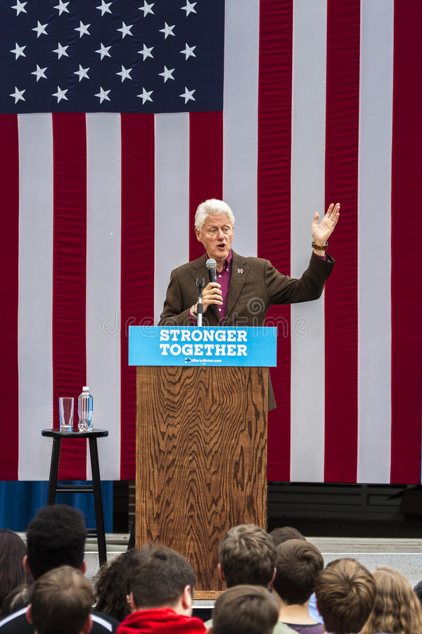 Keene, New Hampshire - OCTOBER 17, 2016: Former U.S. President Bill Clinton speaks on behalf of his wife Democratic presidential n. Ominee Hillary Clinton during stock photos