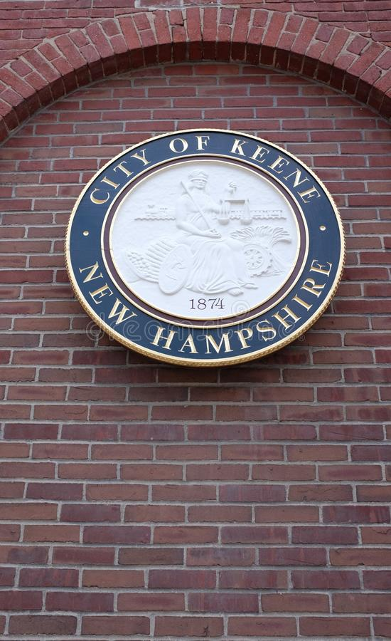 Keene, uma cidade da universidade notável para seu caráter do anti-estabelecimento, selo da cidade fotos de stock royalty free