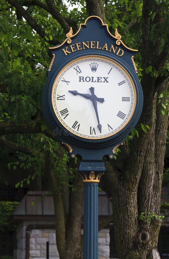 Keeneland赛马跑道时钟在肯塔基 库存图片