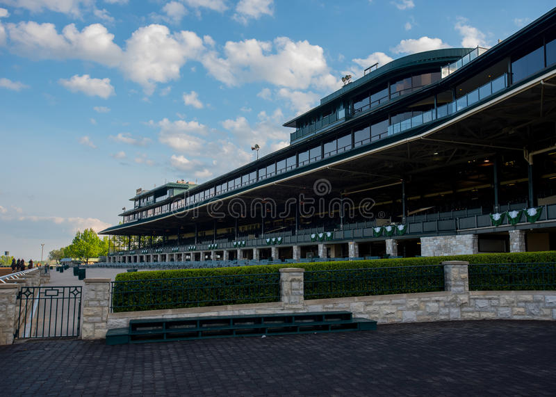 Keeneland Grandstand. Lexington, United States: May 6, 2016. Keeneland Grandstand is quiet before a busy down of racing stock image
