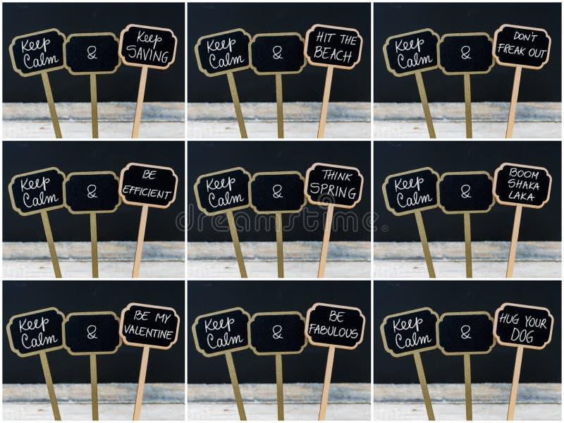Keep安静消息照片拼贴画写与白垩在微型黑板标签 库存例证