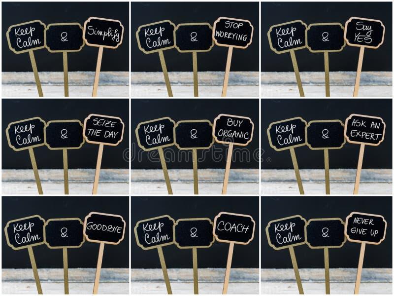 Keep安静消息照片拼贴画写与白垩在微型黑板标签 向量例证