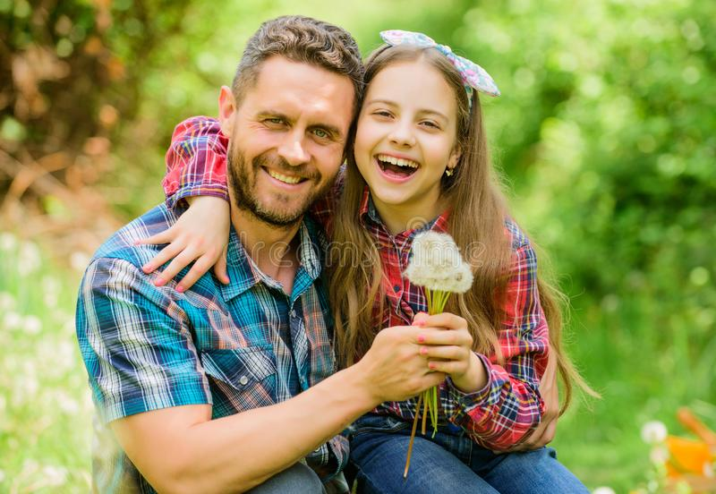 Keep allergies from ruining your life. Seasonal allergies concept. Outgrow allergies. Happy family vacation. Father and stock images