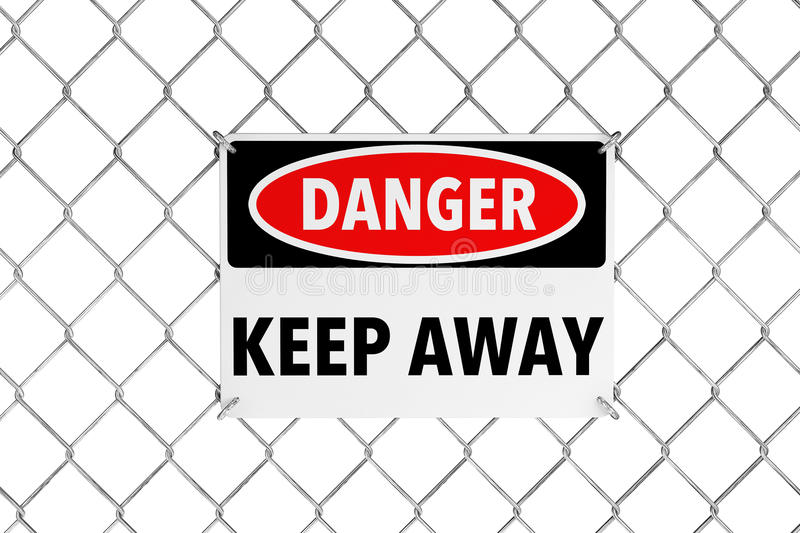 Keep Away Sign with Wired Fence stock illustration