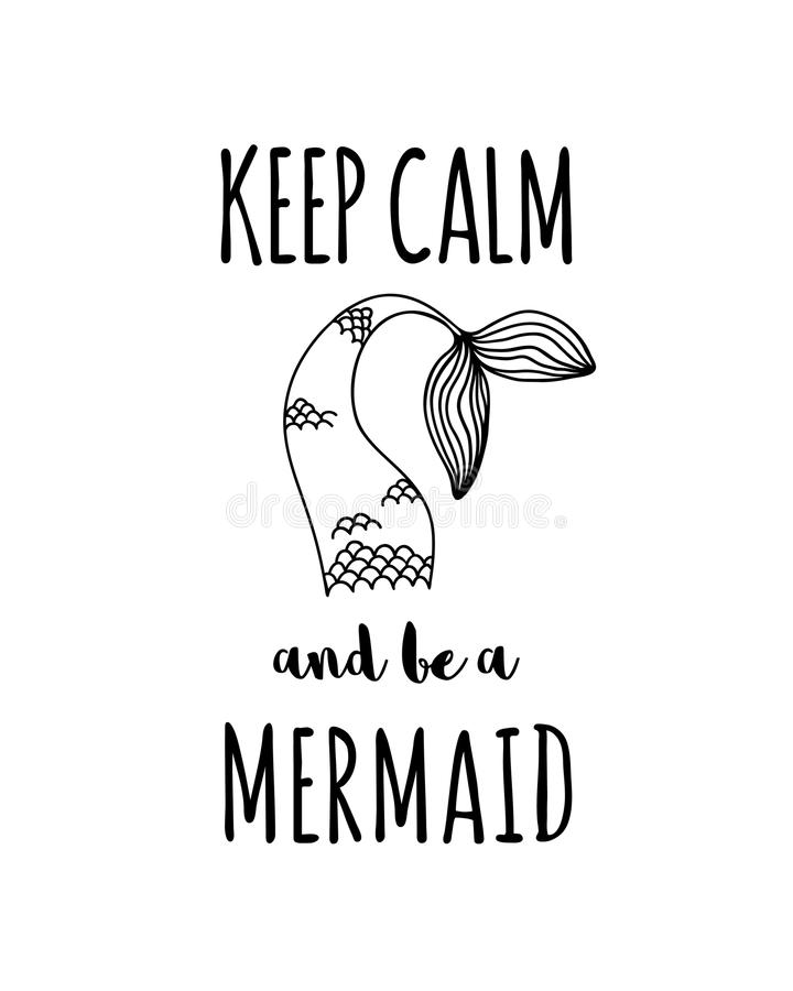 Keep calm and be a mermaid vector illustration