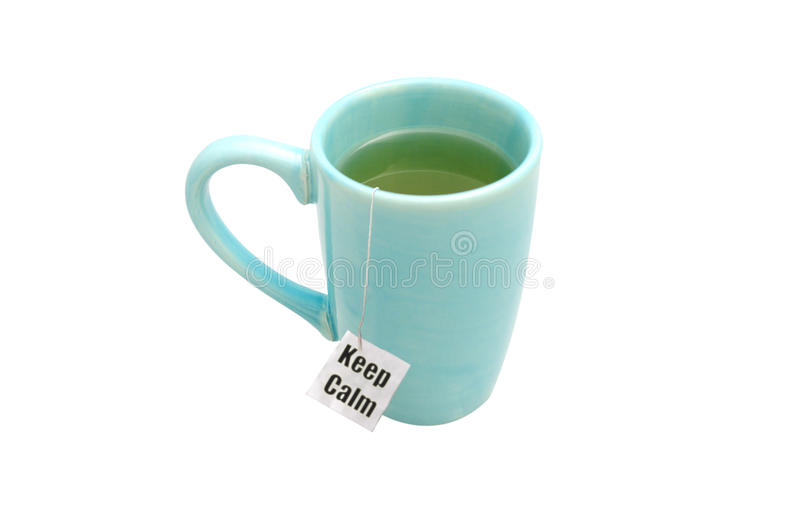 Keep calm. Concept with message on a tea bag stock images