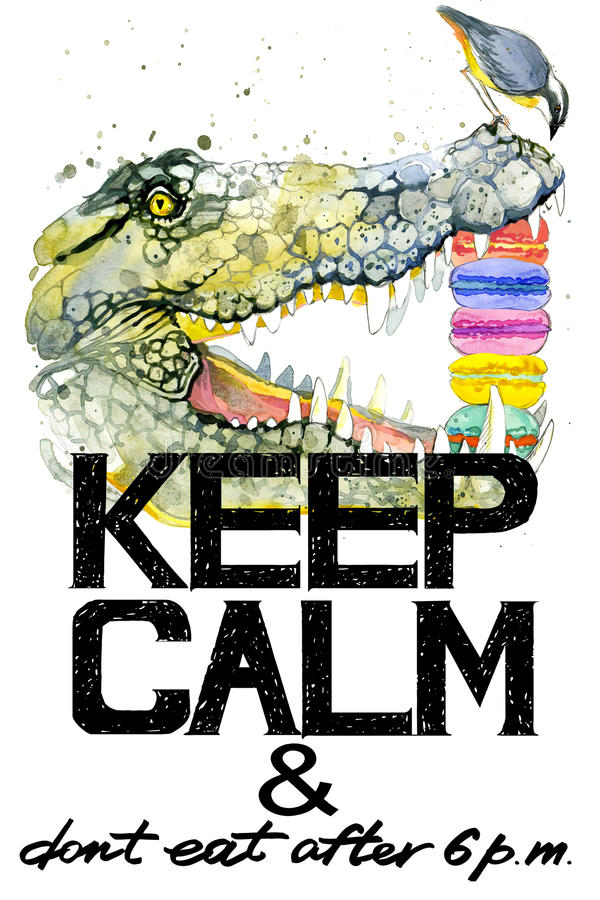 Keep Calm. Crocodile watercolor illustration. royalty free illustration
