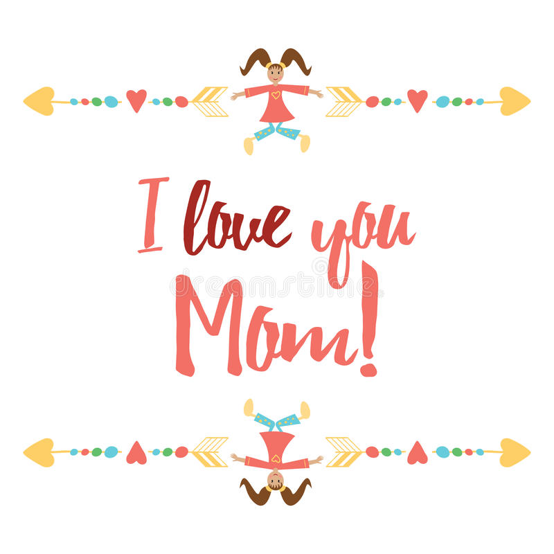 Keep calm and hug Mom. Inspiration positive banner for Happy Mother Day or Birthday. vector illustration