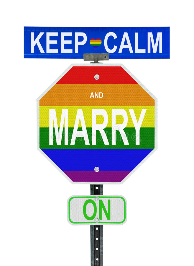 Keep Calm and Marry On - Isolated. A parody of the popular 1939 UK government motivational slogan Keep Calm and Carry On changing a C to a M, in reference to the royalty free stock photo