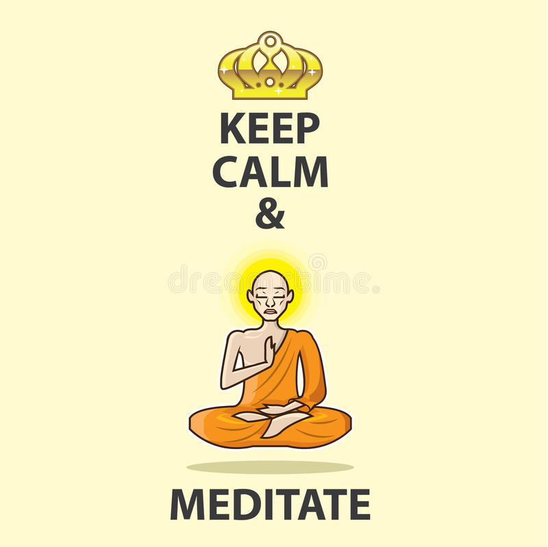 Keep Calm and Meditate Vector Art Gold Crown stock illustration