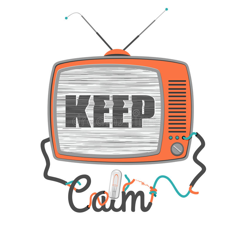 Keep calm - old tv with glitch screen, vector illustration vector illustration
