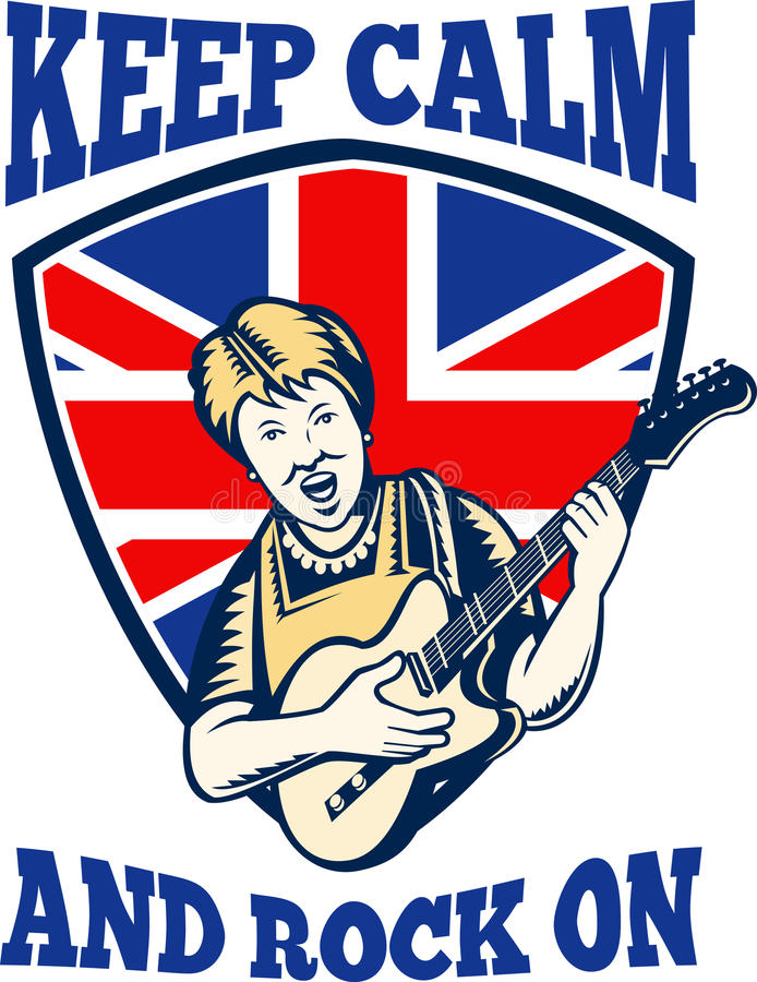 Download Keep Calm Rock On British Flag Queen Granny Guitar Stock Vector - Image: 26281601